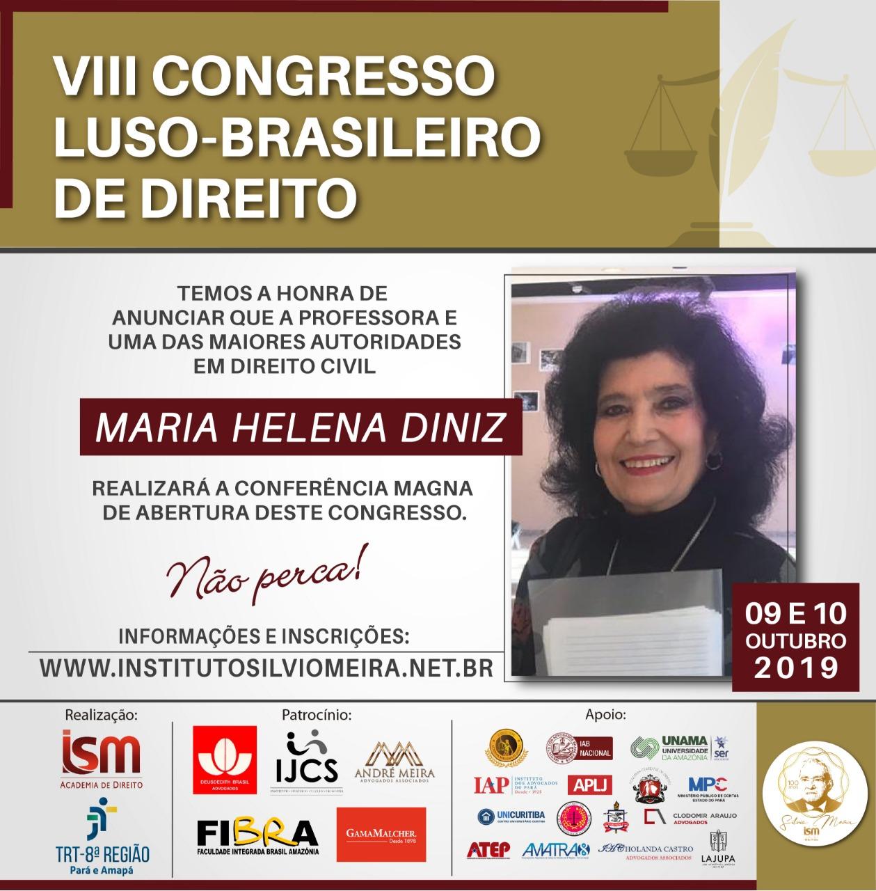 Maria Helena Diniz realizará conferência magna de abertura de congresso